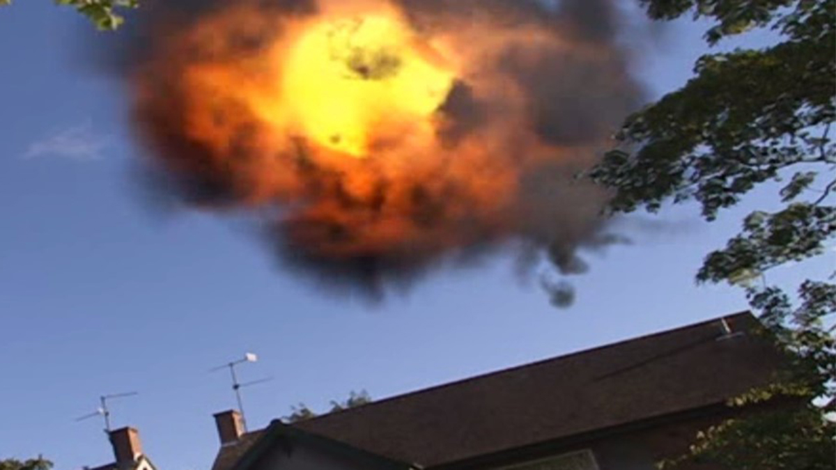 Scene showing K67 exploding over a house in The Sarah Jane Adventures Whatever Happened To Sarah Jane (2007)