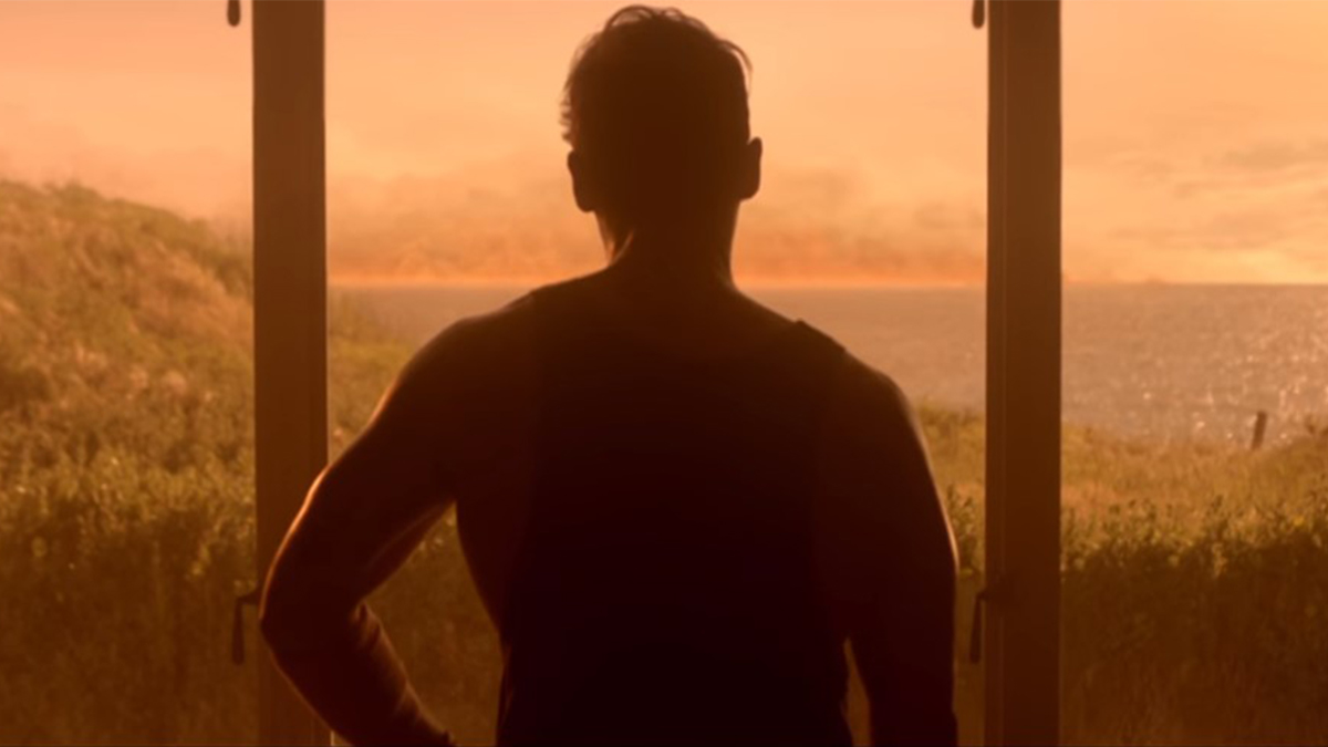 Scene showing man looking out of window at beach as firestorm arrives in These Final Hours (2013)