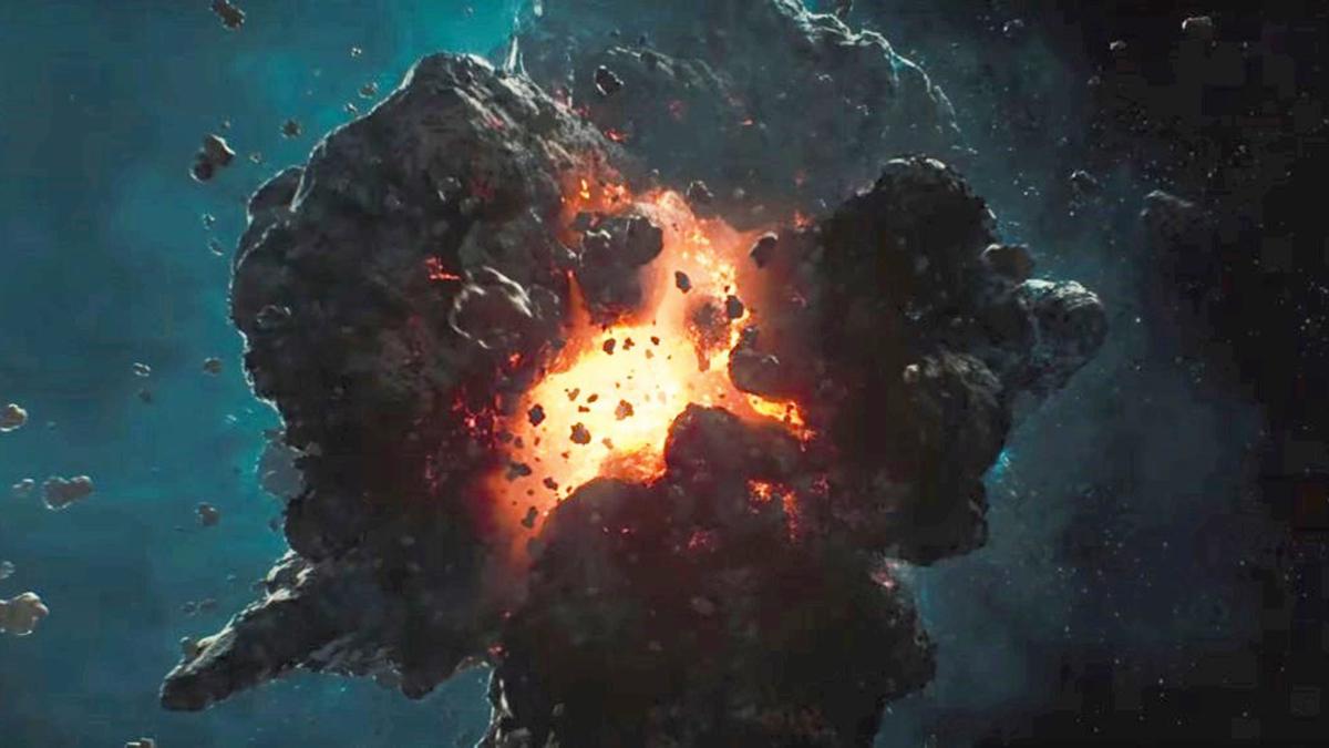 Scene showing asteroid exploding in the film Tik Tik Tik (2018)