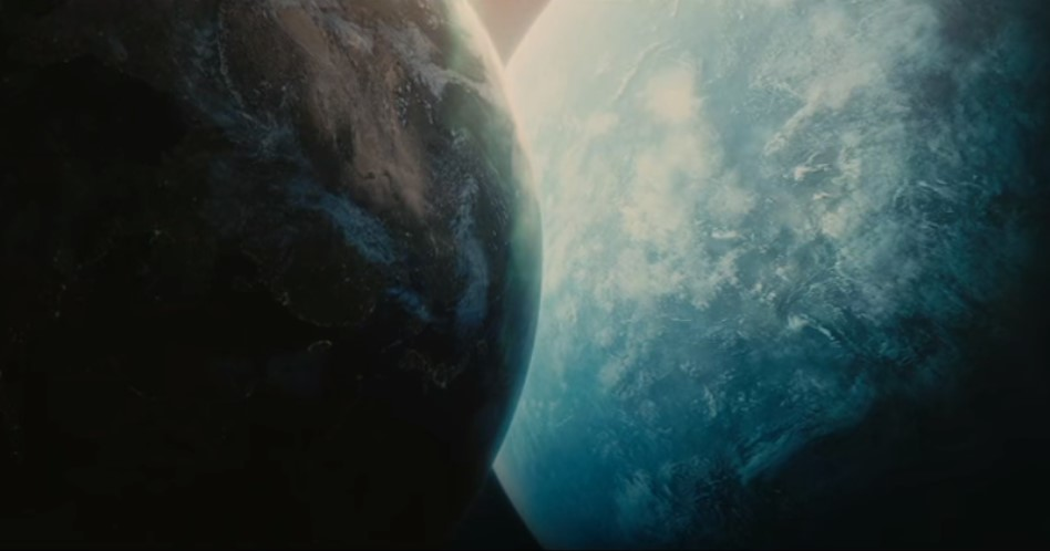Scene showing close approach of rogue planet with Earth from film Melancholia (2011).