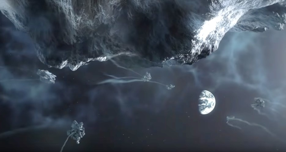 Scene showing massive comet and debris field approaching Earth from space in the documentary The Super Comet (2007). In blog Making an Impact: Lights, Camera and Asteroid! a blog which is about asteroid impacts and comet impacts on Earth.