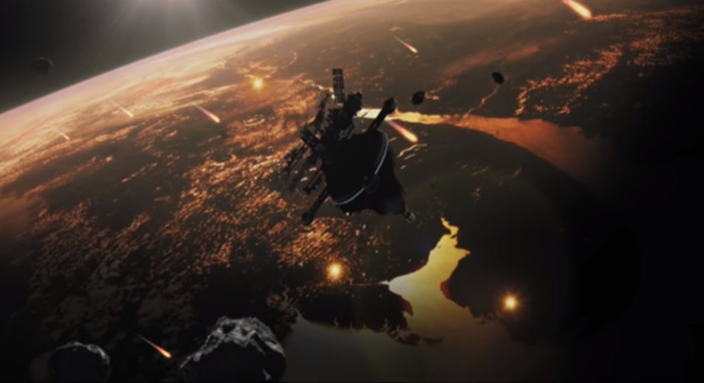 Scene looking down on Earth from film Hope (2016). In blog Making an Impact: Lights, Camera and Asteroid! a blog which is about asteroid impacts and comet impacts on Earth.