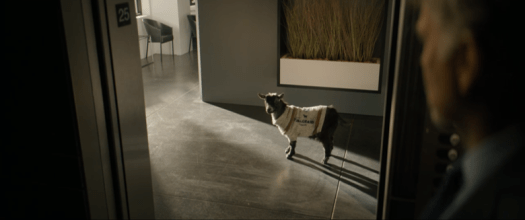 Goliath Season 3: The Weird and the Wonderful. The goat outside the elevator.