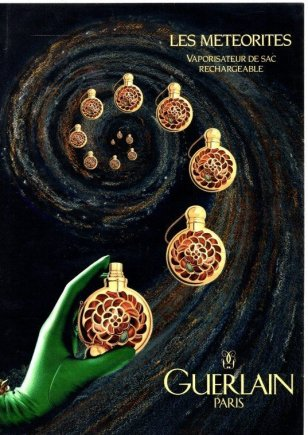 Guerlain Les Meteorites perfume. In blog post Scent from Heaven - an essay on the smell of space, fragrance of meteorites, scent of meteors, and aroma of comets. Meteorite smell.