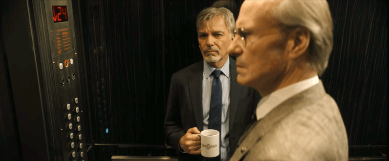 Cooperman meets McBride in the elevator in Goliath Season 3