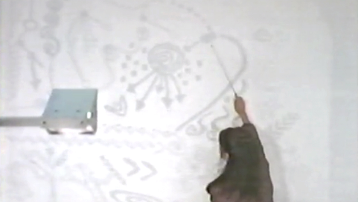 Scene from film Doomsday Rock (1997) explaining the cave paintings