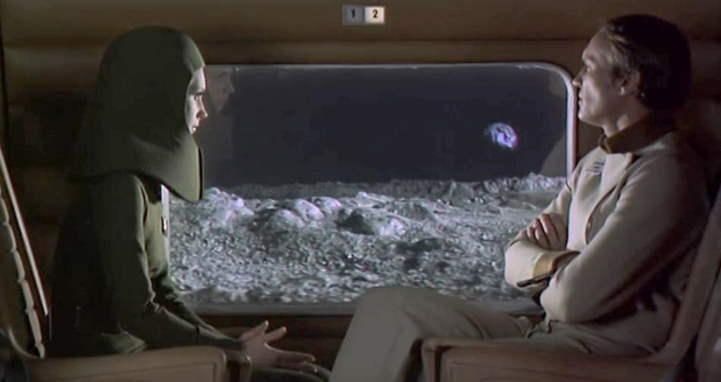 Travelling by train on the Moon in Moon Zero Two (1969)