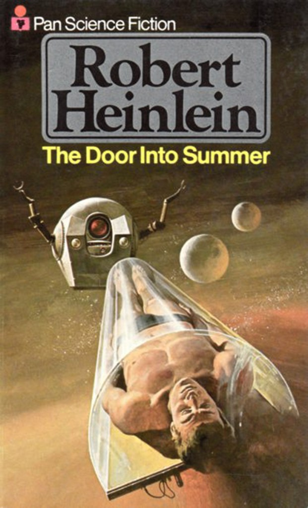 Robert Heinlein The Door into Summer, 1970 edition (1977 printing). Pan Science Fiction. Cover artwork by Gino D'Achille.