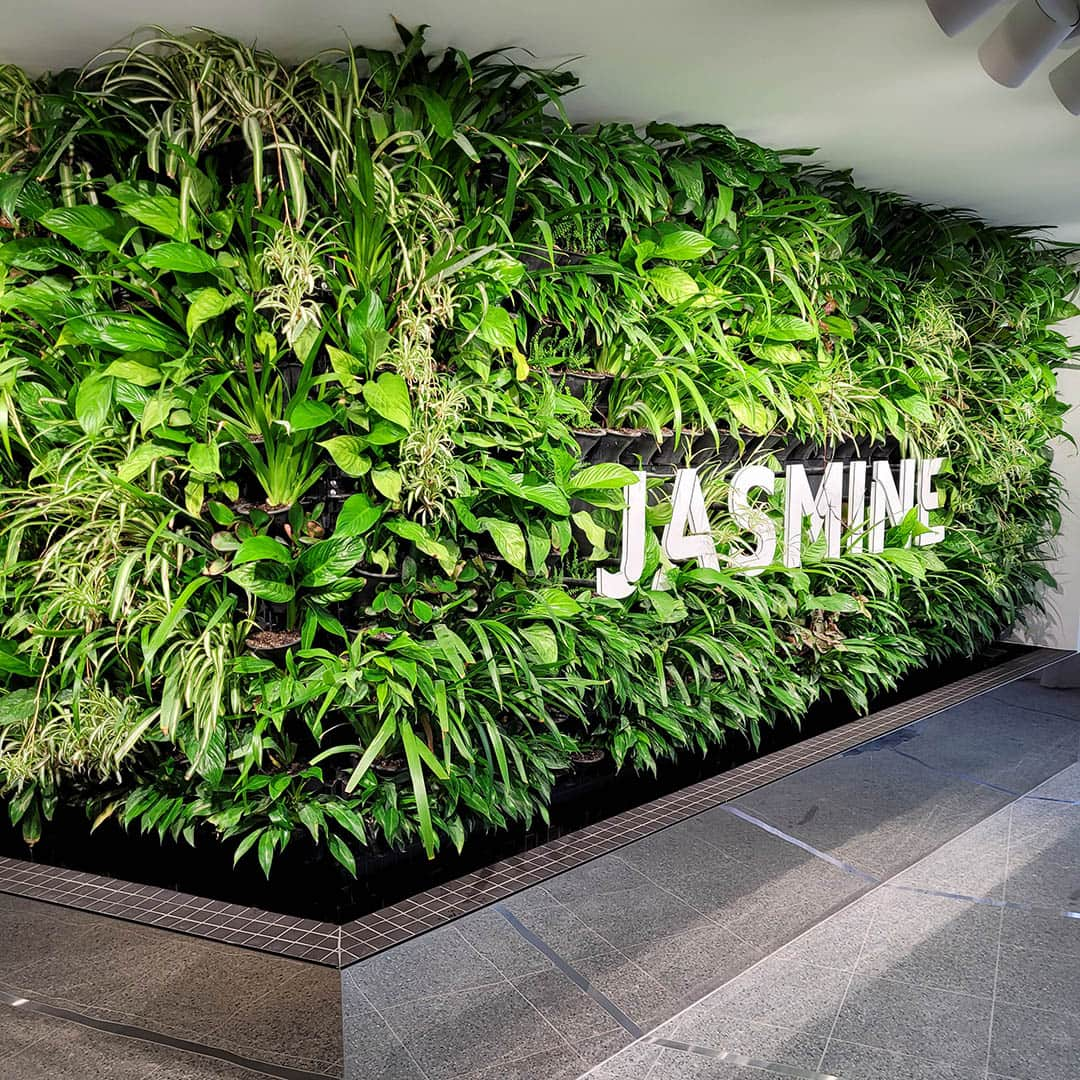 living green walls with logo
