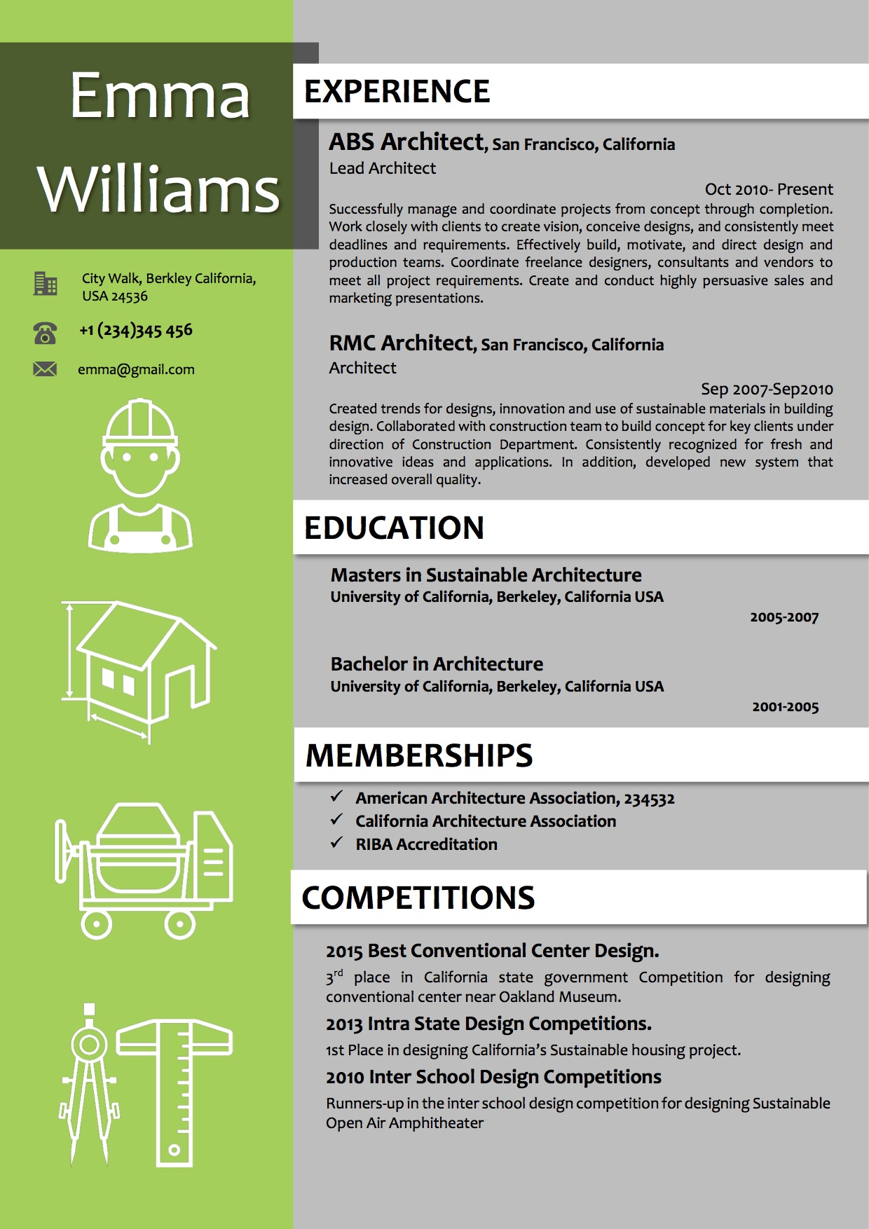architect resume template in green color vista resume