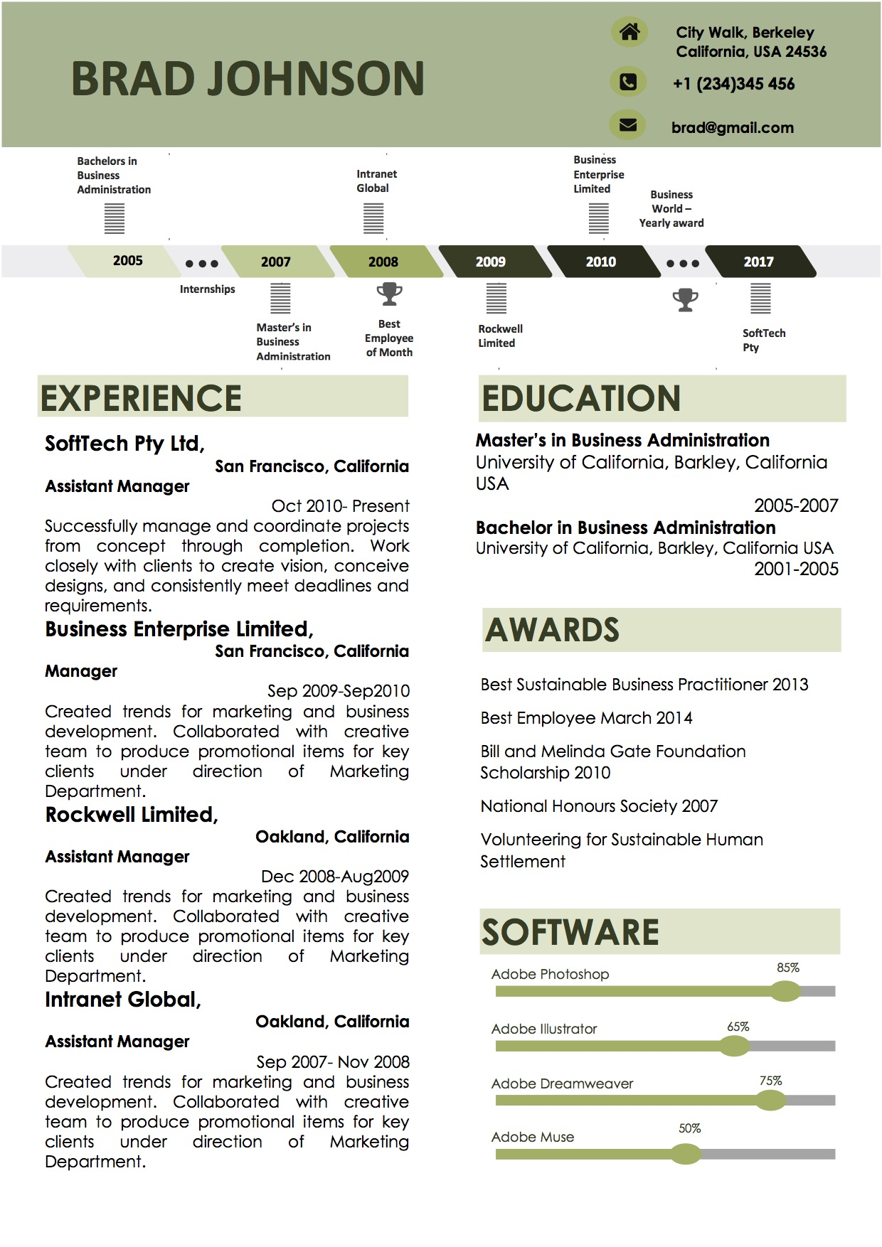 Green Timeline Word Resume Template Docx  Vista Resume