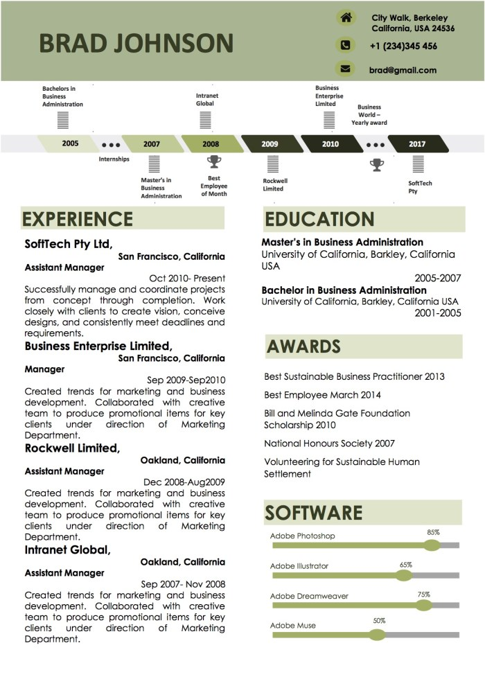 green_timeline_word_template_resume_format