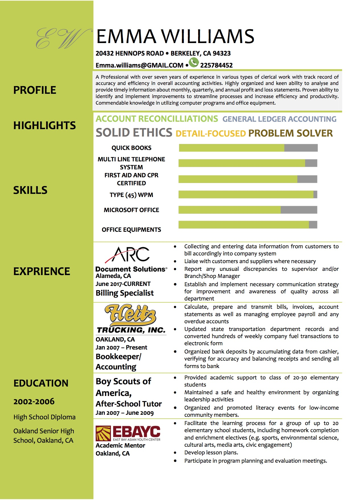 green word resume template