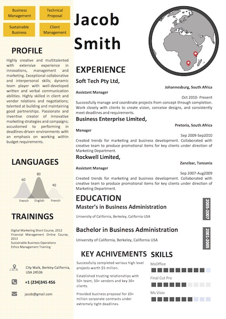 map_world_resume_template