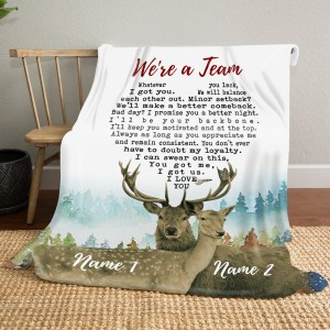 Personalized Blanket Gift For Her, We're A Team Deer Couple, Gift For Wife Fleece Blanket H0