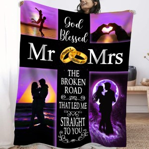 Personalized Blanket Gift For Her, Anniversary Gift For Wife Wedding Ring Blanket H0