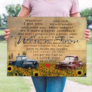 Personalized Wedding Anniversary Gift For Wife, Anniversary Gift For Husband Custom Photo We're A Team Truck Canvas H0