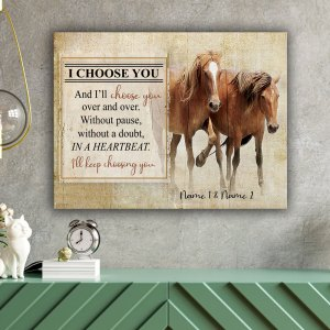 Personalized Gift For Her, Gift For Him, Couple Horse Wall Art, I Choose You Canvas H2