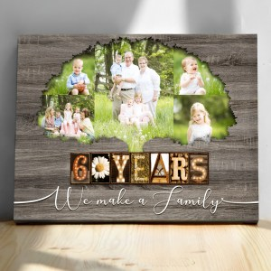 Personalized 60th Anniversary Gift For Parents, Diamond Anniversary Gift, Custom Photo Parents Canvas H0