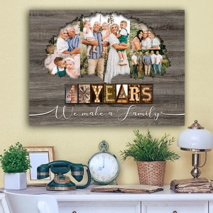 Personalized 40th Anniversary Gift For Parents, Ruby Anniversary Gift, Custom Photo Parents Canvas H0