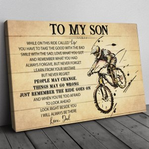 Gift For Son From Dad, Mountain Bike Son Gift, On This Ride Bicycle Rider Canvas H0