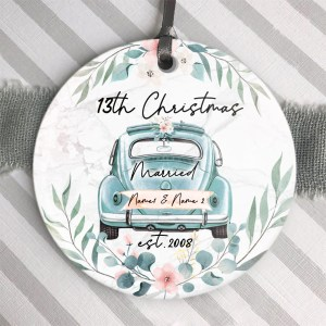 Personalized 13th Christmas Married Ornament, 13 Years Wedding Gift For Wife Ornament H0