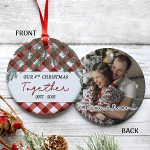 Personalized 4th Christmas Married Ornament, 4 Years Wedding Gift For Wife Ornament H0