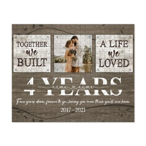 Personalized 4 Year Anniversary Gift For Her Custom Photo, 4th Anniversary Gift For Him, Together We Built A Life Puzzle H0