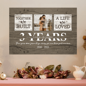 Personalized 3 Year Anniversary Gift For Her Custom Photo, 3rd Anniversary Gift For Him, Together We Built A Life Peel & Stick Poster H0