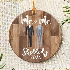 Personalized Our First Christmas Married Ornament, Mr Mrs Ornament H0