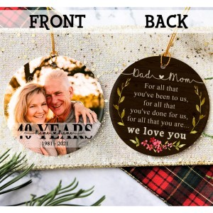 Personalized 40 Year Anniversary Gift For Parents, 40th Anniversary Ornament, Christmas Gift For Parents Ornament H0