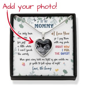 Personalized Gift For Expecting Mom Bump First Time Mom Message Card Heart Necklace H0
