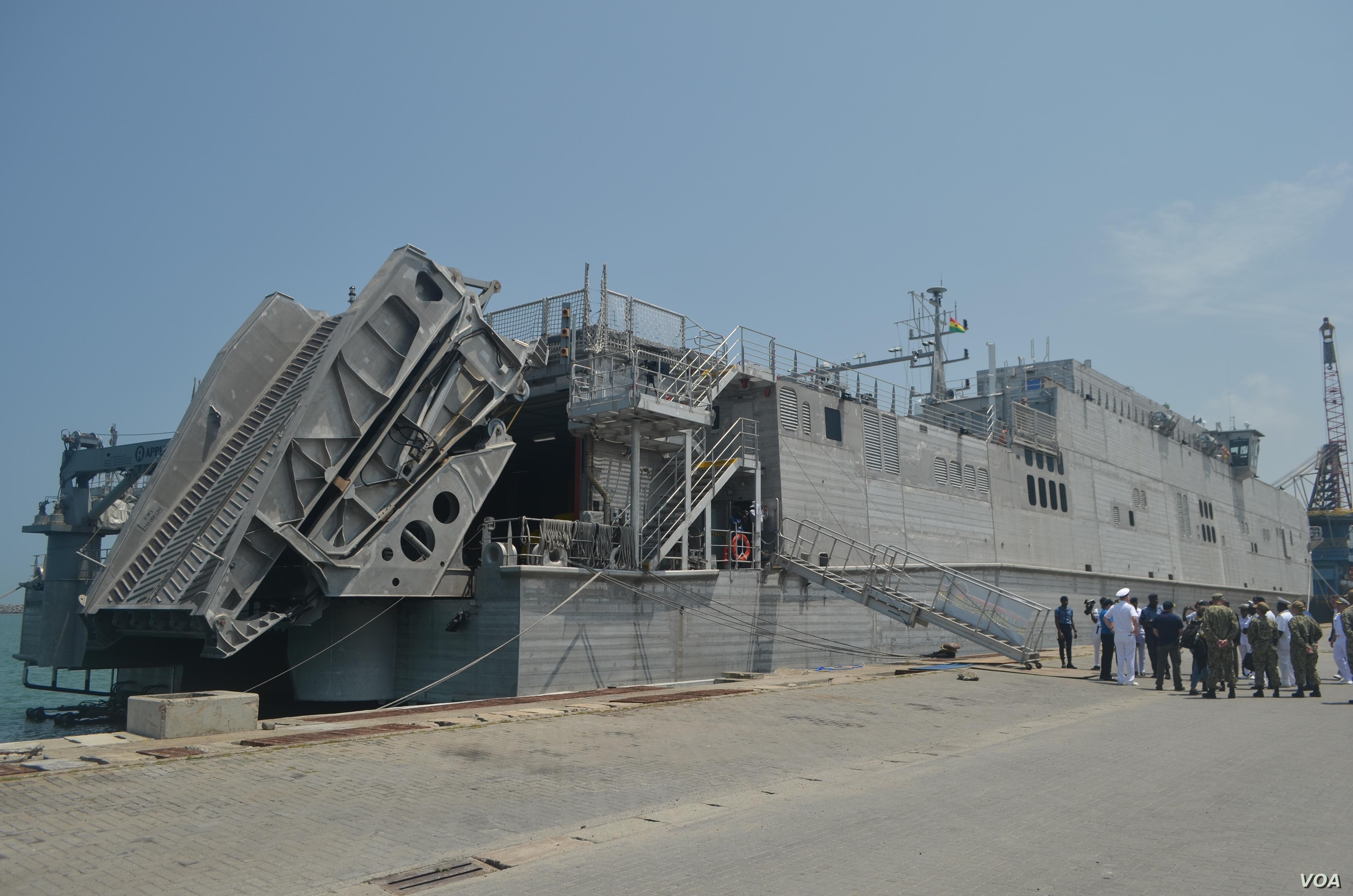 The USNS Carson City is seen in Ghana's Sekondi port. (Stacey Knott for VOA)