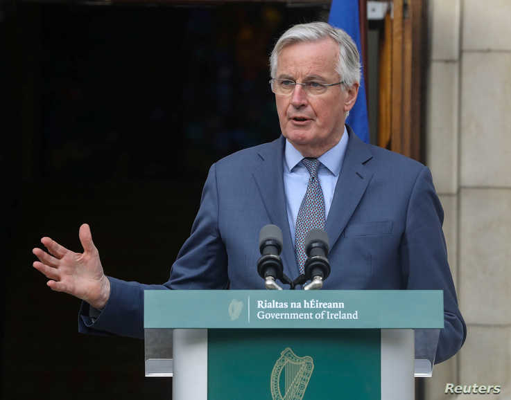 Michel Barnier, the European Union's chief Brexit negotiator speaks to the media at Government Buildings in Dublin, Ireland…