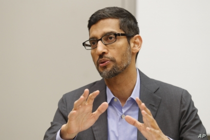 Google CEO Sundar Pichai speaks during a visit to El Centro College in Dallas, Oct. 3, 2019.