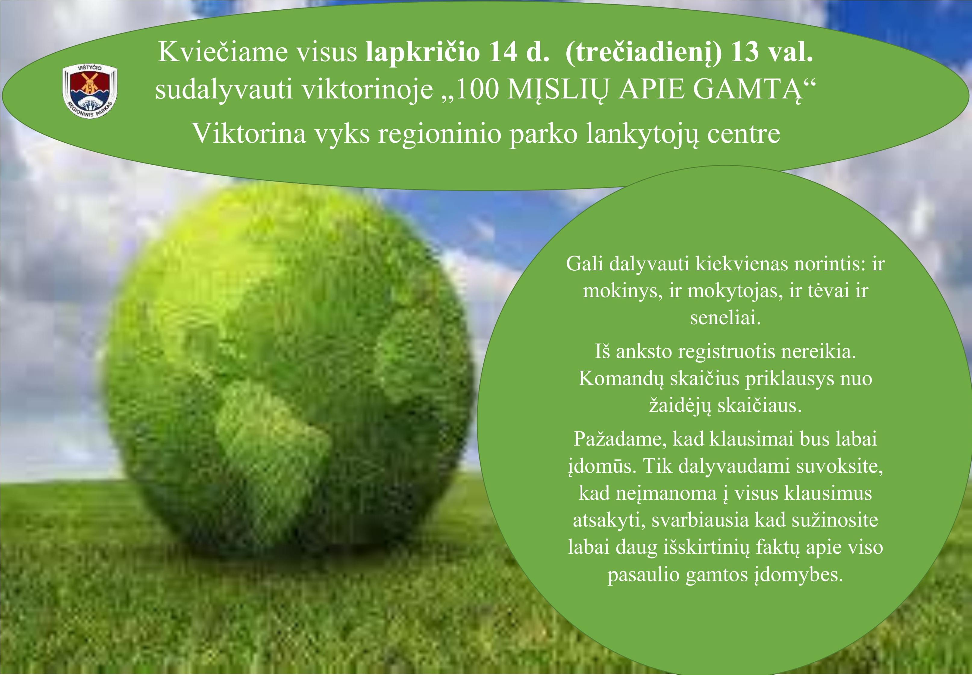 """Viktorina """"100 mįslių apie gamtą"""""""
