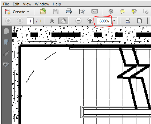 When magnified, a scanned drawing will look jagged, noisy, blurry or dirty. If you are uncertain, magnify some more. The higher the resolution of the drawing, the more magnification it needs to degrade. Vector files will look perfect at any resolution.