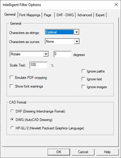 Conversion options - general settings