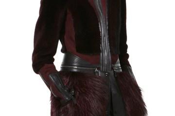 J. Mendel port shearling high collar zip waist coat