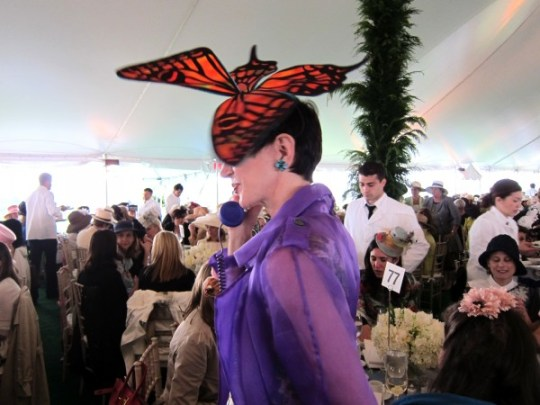 Amy Fine Collins in Aaron Keppel id Design hat at CPC Luncheon 2011