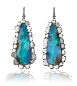 Opal and Diamond Drop Earrings