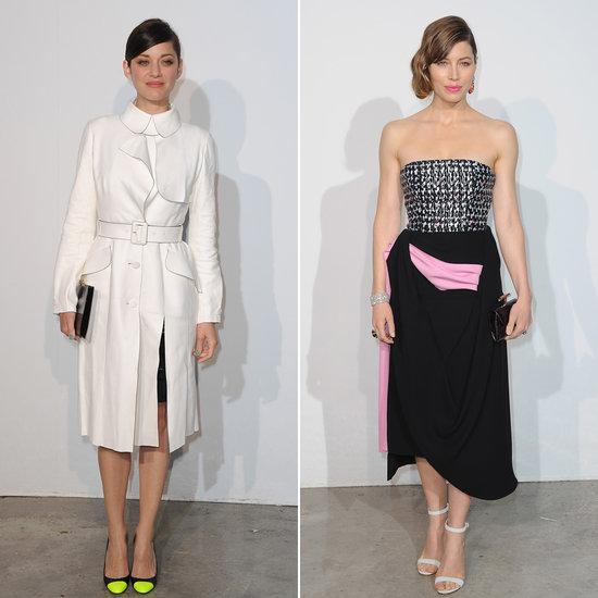 Marion Cotillard in dior Cruise and Jessica Biel in Dior