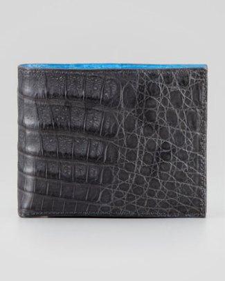 Santiago Gonzalez Bicolor Crocodile Wallet bergdorfgoodman.com