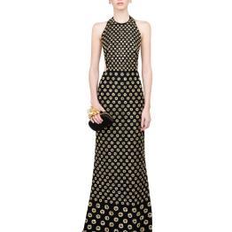 Alexander McQueen Embroidered Halterneck Gown