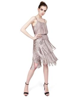 Nina Ricci Taupe Short Fringe Dress