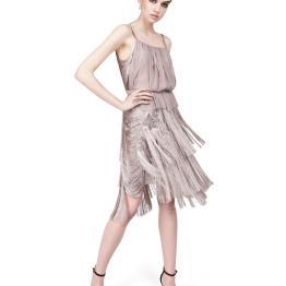 Nina Ricci Taupe Short Fringe Dress