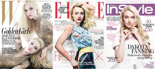 W Magazine December 2011 (by Mario Sorrenti), Elle UK February 2012, InStyle December 2012