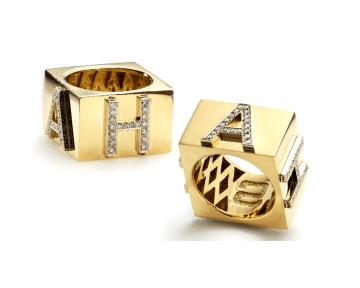 "18K Yellow Gold and Diamond ""Ha Ha"" Ring"