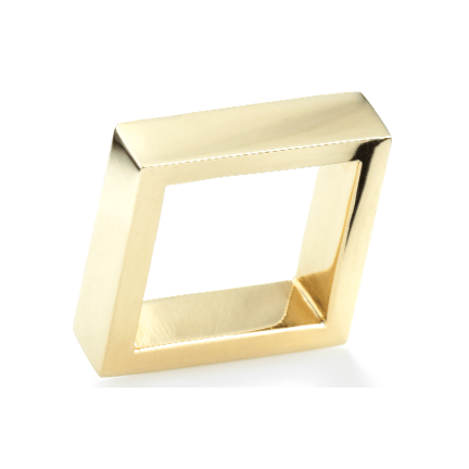 14K Yellow Gold Wide Square Ring