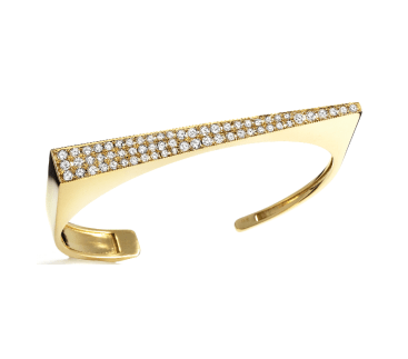 18K Yellow Gold & Diamond Angle Bracelet